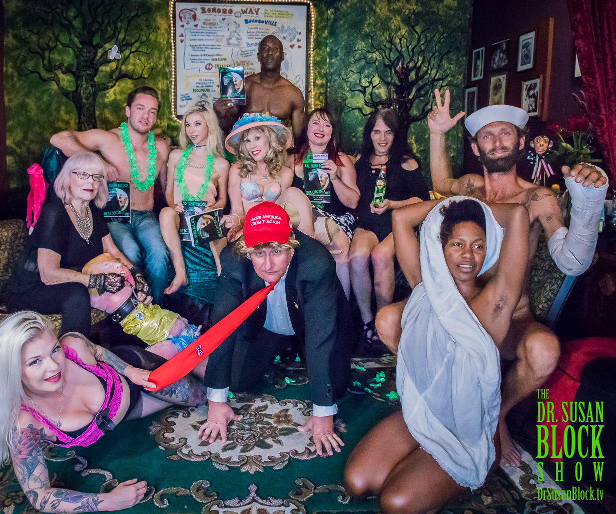 Bonoboville Summit: Gypsy Bonobo, Sheree Rose,Kyle Mason, Kenzie Reeves, Dr. Suzy,  tRUMP, Heather Claus, Jacquie Blu, Chef Be*Live, Daniele Watts. Photo: Jux Lii