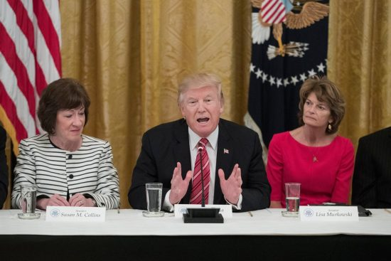 Real Life Wonder Women: Susan Collins and Lisa Murkowski flank real-life Mobster-in-Chief tRUMP.