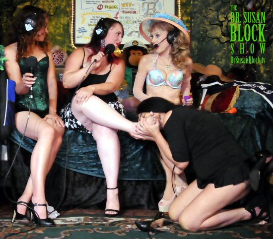 Jacquie takes Bonoboville Communion from the Altar of Nookie's instep. Photo: Dragon Blade Design