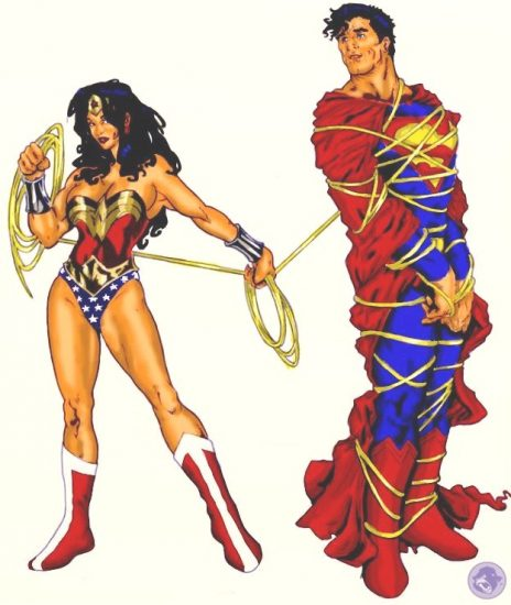Comic Book Wonder Woman lassos Superman