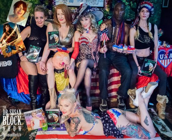 "Celebrating America's 241st Birthday with Wonder Woman reviewer & University of Puerto Rico Prof. Linda Rodriguez; Mistress Liz of Sanctuary LAX; Madam Grace Marie, ""The Goddess of LA""; Trump under Gag Order; Ikkor theWolf; Madame Margherite; Gypsy Bonobo. Photo: Jux Lii"