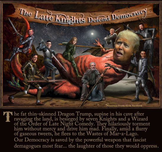 """The Late Knights Defend Democracy. Painting: Scott Siedman"