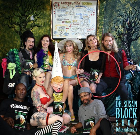Nori, Rachel, Dr. Suzy, Shelbi Mullen, Jack Murdock. Row 2: Gypsy Bonobo, Imperial Wizard Trump, Rick Beatty. Photo: Jun Tao