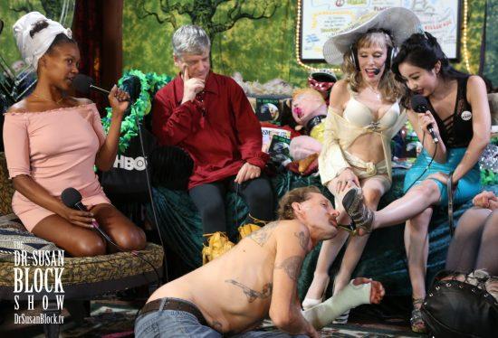 Chef Backslider takes Bonoboville Communion from Goddess Virgin's high heel. Photo: Jun Tao