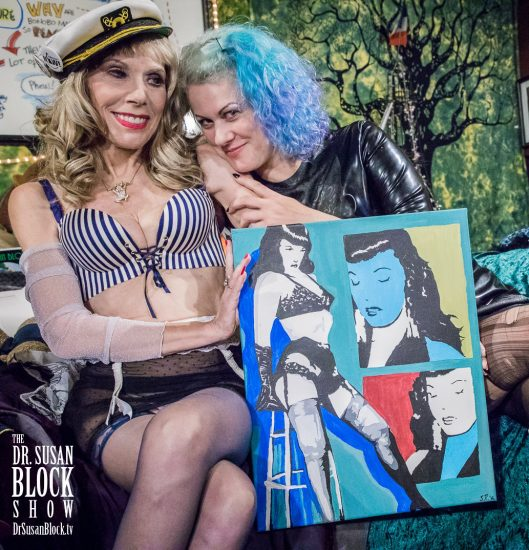 Goddess Soma gives me a Bettie Page painting by Jamie Roxx, aka Sissy Pesticide