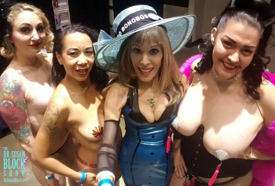 With some of the luscious pastied ladies of Burlypicks Burlesque. Photo: Selfie