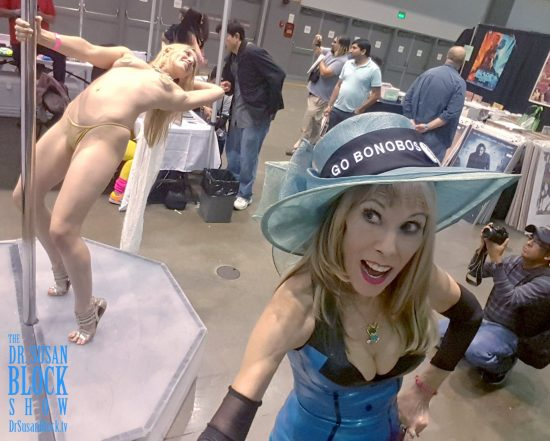 With Porn Star & Bonobo Way Lover Riley Reyes on the Stripper Pole at ADULTCON. Photo: Selfie