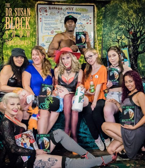 Happy Kink Month from BOOnoBOOville: Gypsy Bonobo, Jacquie Blu, Dr. Laurie Bennett-Cook, Dr. Susan Block, Ikkor the Wolf, Gracie May Green, Amilia Onyx, Maya. Photo: Jux Lii