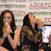Alex & Jacquie deep-throat their bananas