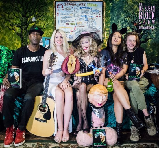 Musical Gems on DrSuzy.Tv: Ikkor the Wolf, Jezebel Sweet, Dr. Susan Block, Drumpf the Dickhead, Bangs Black, Shelby Delanie. Photo: Jux Lii