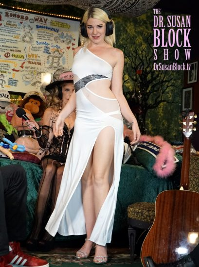 Jezebel Sweet models her slinky stripper gown on DrSuzy.Tv. Photo: Who Is Big Mac