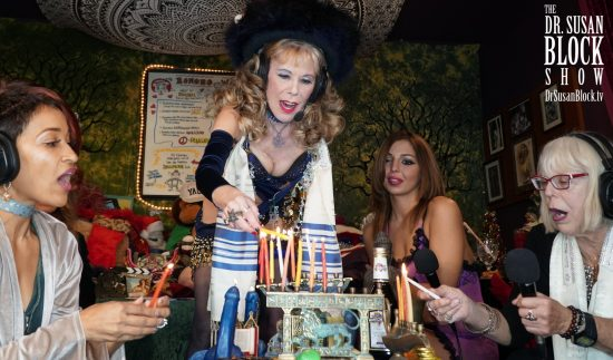 Lighting the Menorah with Lady Tuezdae, Phoenix Dawn and Sheree Rose. Photo: Russell Thomas