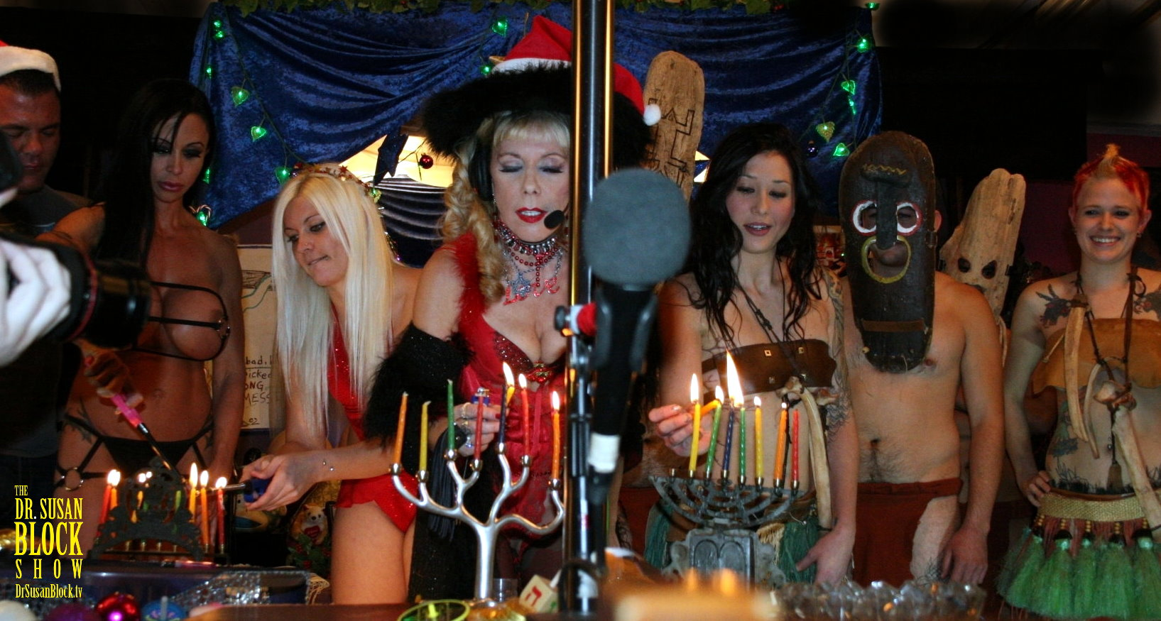 "Opening Hanukkah Candle-lighting Ceremony in ""Massive Musical Orgy of Love, Lights and the Bill of Rights,"" featuring Jules Jade and the Unlicensed Professionals.  Photo: L'Erotique"