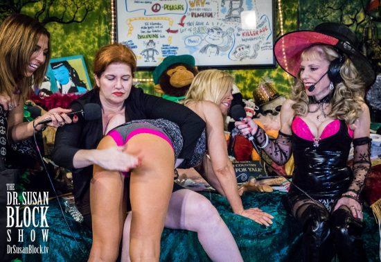 Mistress Tara gives Brigitte her Birthday Spanking. Photo: Jux Lii