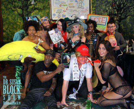 Musical Spanking-Hot : Anti-Trumpiversary: Daniele Watts, Chef Be*Live, Elena RAyn, Dr. Suzy, Sunny War, Zach Rose. Bottom Row: Ikkor, tRUMP, Phoenix Dawn. Photo: Rick Slick
