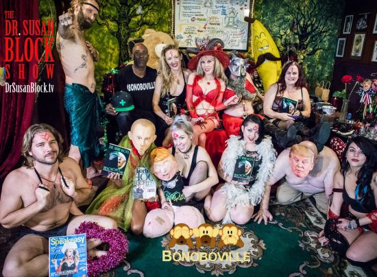 LUPERCALIA 2018 on DrSuzy.Tv: Daniel Flohr, Chef Be*Livea, Stormy Daniele Watts as Putin, Bratty Wolfie with tRUMP, Elena Rayn, tRUMP 2. Row 2: Ikkor the Wolf, Mistress Elle Zelena, Dr. Suzy, Rhiannon Aarons as the Luper (Wolf/Whore/Goddess), Mistress Jennifer. Photo: Jux Lii