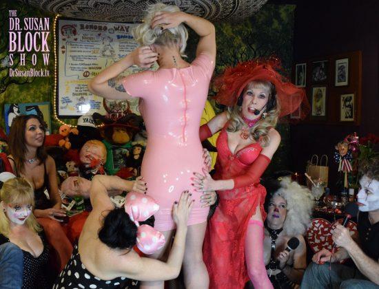 Lubing Up Countess Bathory's Pink Latex. Photo: Gaby De Leon