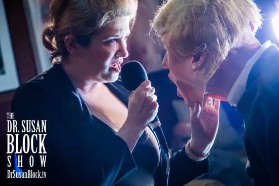 D.A.D. leader Mistress Tara cuts tRUMP down to size. Photo: Jux Lii