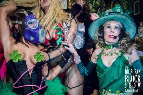 A Michelangelic Moment on Dr. Suzy's St. Paddy's Day, the Bonobo Way, featuring Phoenix Dawn and GasMaskGirl. Photo: Jux Lii