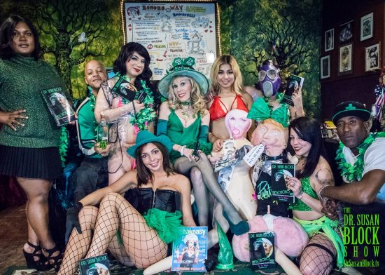 St. Paddy's 2018: Shawn Goth, Metaphysical, Lattisia, Phoenix Dawn, Dr. Suzy, Mariposa, Stormy & tRUMP, Renee as GasMaskGirl, Mia Amore, Ikkor the Wolf. Photo: Jux Lii