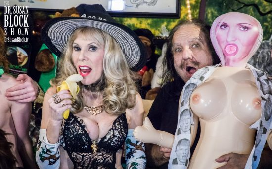 Spotted: Ron Jeremy hiding behind my Stormy Doll! Photo: Jux Lii