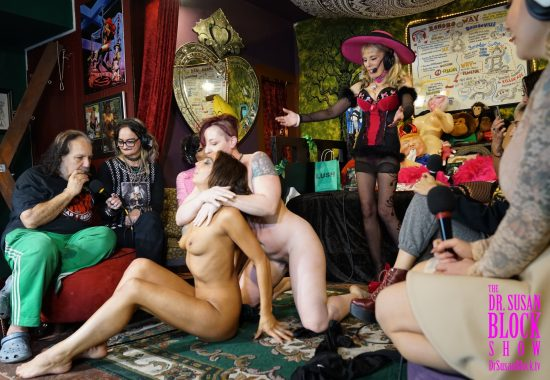 Ron Jeremy plays harmonica as Mistress Kara wrestles Phoenix Dawn in the Womb Room. Photo: Danny Lopez
