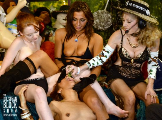 Bday Gal Diamond receives the First Waterboarding of Spring 2018 with Agwa de Bolivia Herbal Coca Leaf Liqueur. Photo: Hollywood Jake