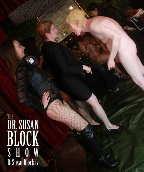 Dominatrixes Against Donald Trump confront a shrunken, naked Presidunce. Photo: Heated Rush