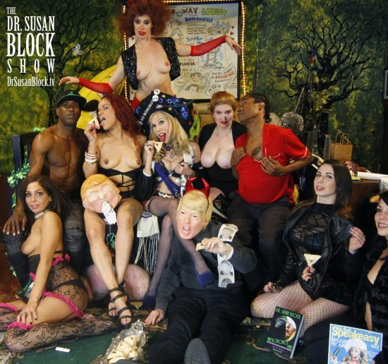 Purim 2018 in Bonoboville:: Phoenix Dawn, Ikkor the World, Diamond, Vesper Synd, Dr. Susan Block, tRUMP, Mistress Tara Indiana, Lamar D. Sol, Mistress Katarina, Mia Amore. Photo: Abe Bonobo