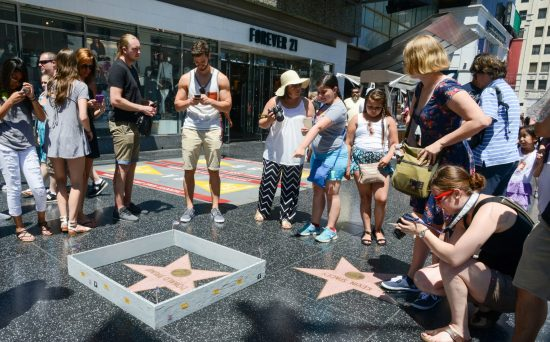 Trump's Wall around his own star.... which happens to be next to Kevin Spacey's.... in front of Forever 21 (!) Street Art by Plastic Jesus