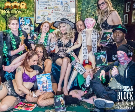 Spring Showers 2018 on DrSuzy.Tv: Xavior Steele with Jesus Jackhammer, Diamond, Phoenix Dawn, Athena Rayne, Dr. Susan Block, Ron Jeremy, Stormy Daniels Doll with Drumpf Doll, Lillith Lustt, Ikkor the Wolf, Plastic Jesus. Photo: Jux Lii