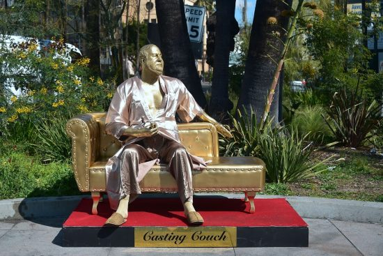 "Harvey Weinstein on the ""Casting Couch."" Street Art by Plastic Jesus"