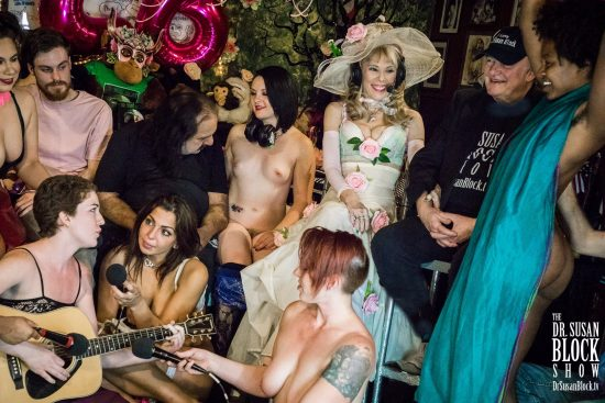 """Jezebel Sweet serenades us for our 26th with """"Blue Moon"""" as Ms. Kara and Phoenix hold her mics, Daniele dances and Ron checks out Elena's boobs. Photo: Jux Lii"""