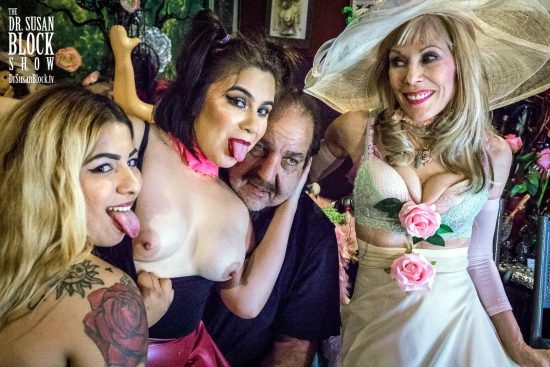 Ron Jeremy Gropiong & Kissing Booth with GasMaskGirls at the Bonoboville Carnival. Photo: Jux Lii