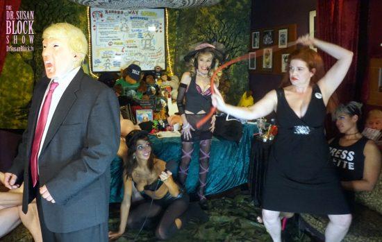 Mistress Tara applies the bullwhip to tRUMP's rump. Photo: C2E'S