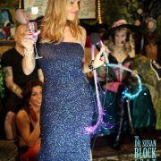 Dazzling Domina models her evening gown