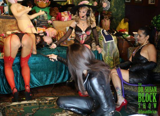 Phoenix feels the kiss of Mistress Cyan's snaketail whip. Photo: Greg Gorman