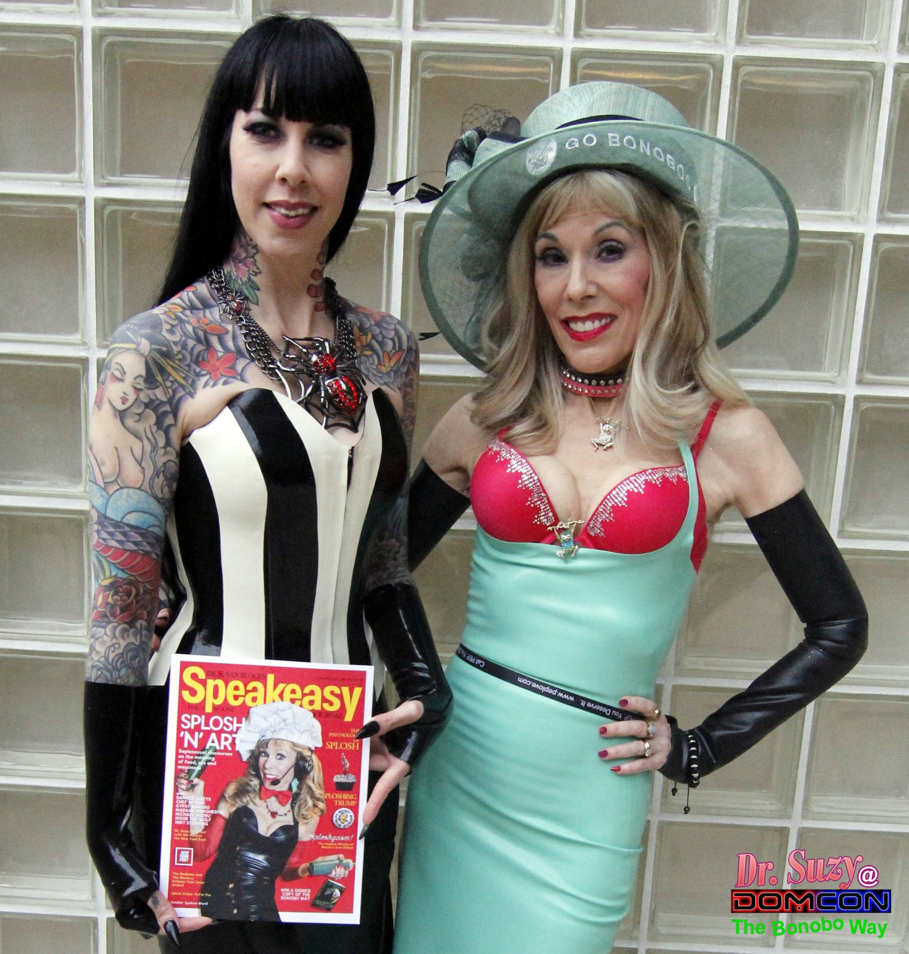 Mistress Porcelain gets one of the first copies of our Speakeasy Journal, Splosh 'n' Art edition.  Photo: Abe Bonobo