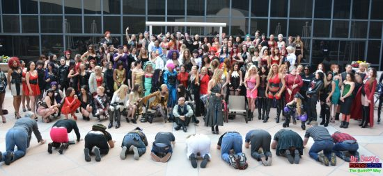 Slaves, subbies and pets kneel before the Mistresses of DomCon 2018. Photo: Hugo Flores