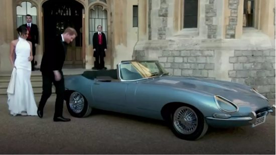 Duke and Duchess of Sussex get into their new electric Jag.