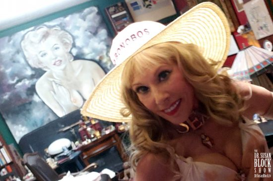 In front of the original Mark Christian painting of Marilyn that Max gave me before we got married. Photo: Selfie