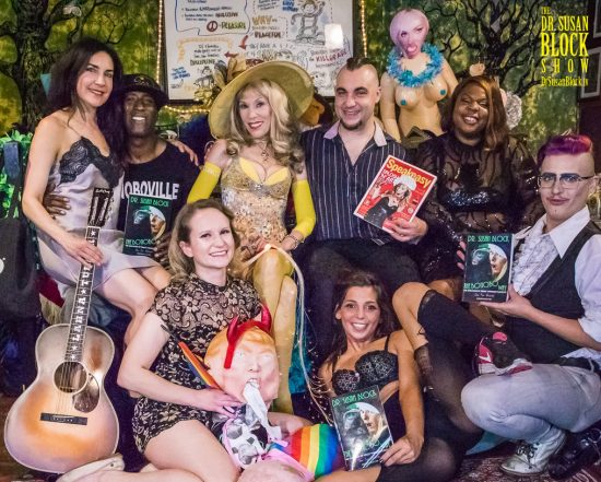 "Summer Solstice 2018 on DrSuzy.Tv: Lahna Turner, Ikkor the Wolf, Dr. Suzy, Wry, Jamila Dawson. ""Bottom"" Row: Lena Starr, tRUMP, Phoenix Dawn, HP Loveshaft. Photo: Jux Lii"