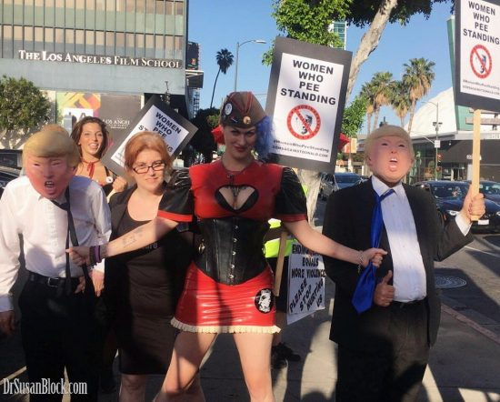 Phoenix with Dominatrixes Against Donald Trump director Mistress Tara, Goddess Soma and two tRUMPs at the International Sex Workers Day March in LA