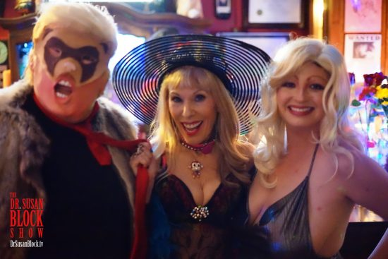 I've go tRUMP the Weasel by the tie, thanks to Stormy Daniels, played by Rhiannon Aarons. Photo: Selfie