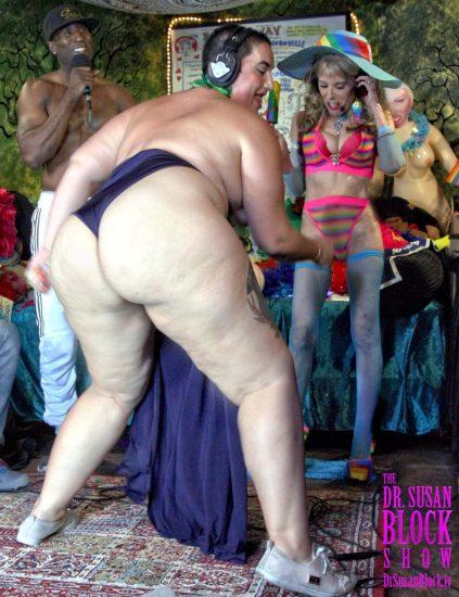 "Mimosa twerks her amazing 54 inch bottom as Ikkor howls ""She Bad."" Photo: Slick Rick"