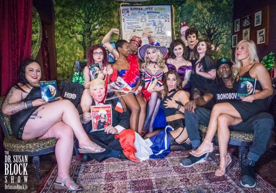 Bastille Day in Bonoboville 2018: Calista Roxxx, Rhiannon Aarons with tRUMP on a leash, Danièle Watts, Chef Be*Live, Dr. Suzy, Phoenix Dawn, Veronica Voss, Georgia O'Queef & Lana Entendre of the Hollywood Jane Revue, Ikkor the Wolf & Brgitte. Photo: Jux Lii