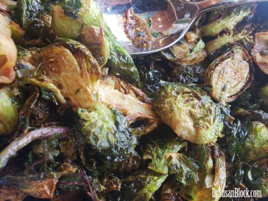 crispy brussel sprouts with lollipop kale and guanciale