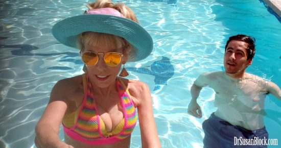 In the pool with Abe who hasn't been decapitated (that's an optical illusion). Photo: selfie