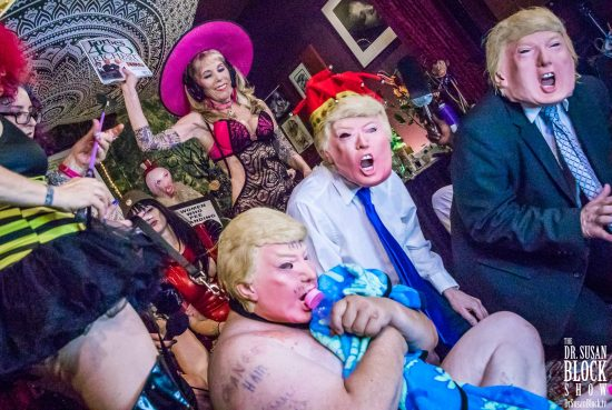 Trumpocalypse Therapy: Spanking 3 Trumps' Rumps with Stormy's Forbes. Photo: Jux Lii