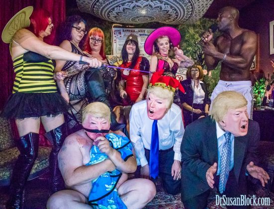 Trumpocalypse Now with Dominatrixes Against Donald Trump (D.A.D.) on DrSuzy.Tv. Photo: Jux Lii